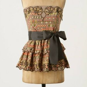 Floreat Eyeleted Corset Top with Tie in Brown